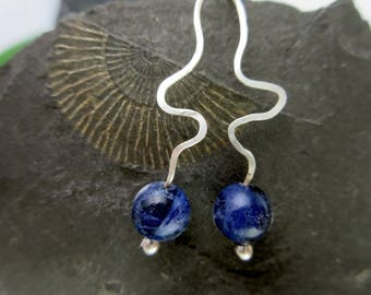 Earrings 925 silver blue Silberohr pendant sodalite Earrings Sterling Silver Summer