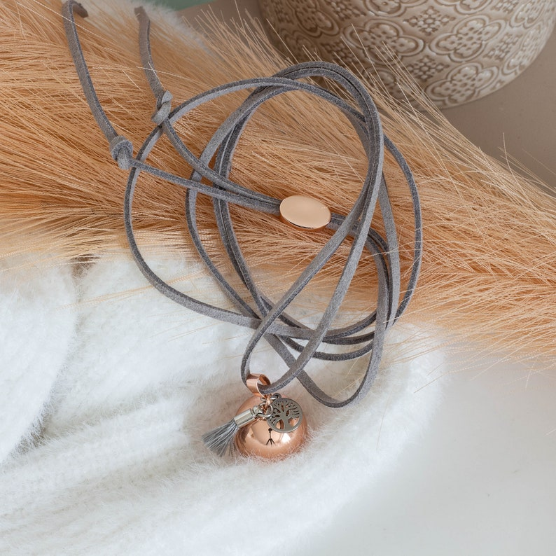 silver rose gold Pregnancy Bola tree of life suede cord