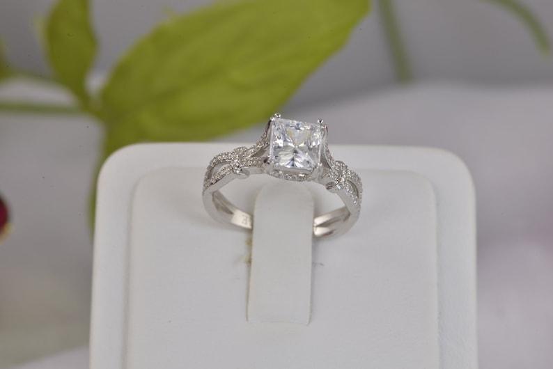 3.67ct Princess Cut 3pcs Wedding Set Engagement Ring Wedding Band Diamond Simulated 925 Sterling Silver Women/'s Bridal Set Eternity Ring