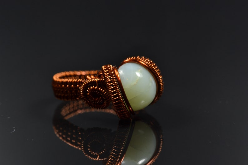 Opal from Kosovo copper wire ring hand made and cut in Indonesia amazing cabochon Chrysopal Ring Prase Opal 5.8 g Size US 7