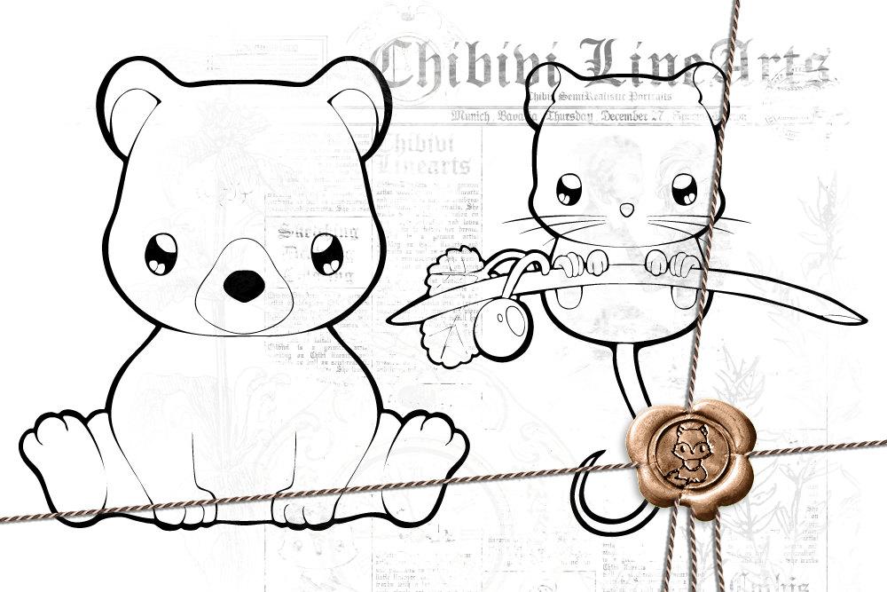 Digital Stamp Bär Haselmaus Lineart Malvorlage Ausmalbild Waldtiere Teddy Und Mäuschen Direkter Download Png Clipart