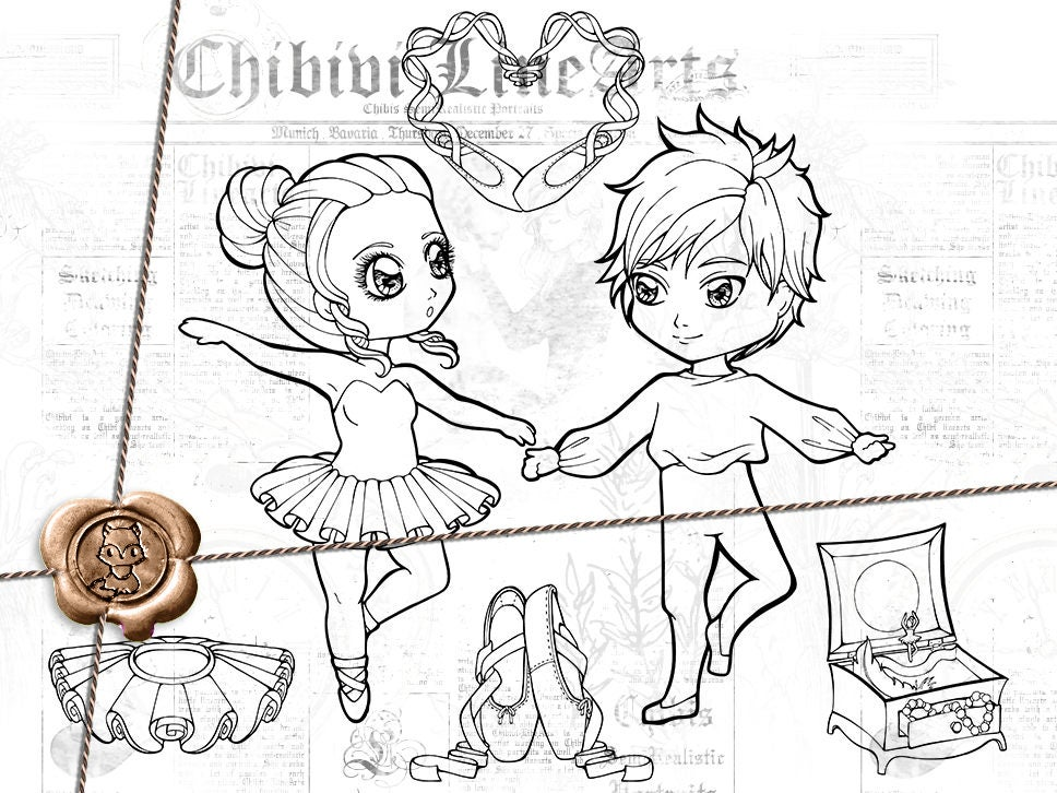 Digital Stamps LineArt Set Chibi Ballett Malvorlagen zum | Etsy