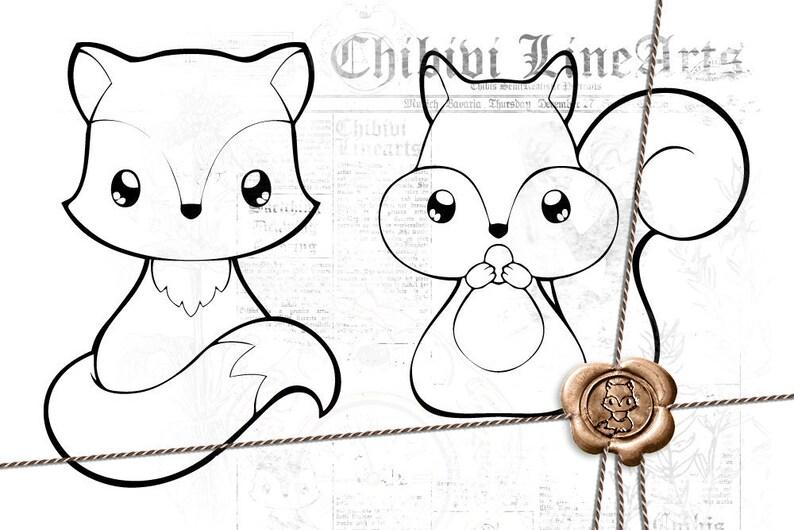 Digital Stamp Fuchs Eichhörnchen Lineart Malvorlage Ausmalbild Waldtiere Füchschen Und Eichkätzchen Direkter Download Png Clipart