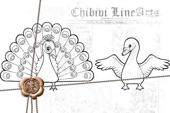 Digital Stamps Pfau Schwan Lineart Druckbare Malvorlage Etsy