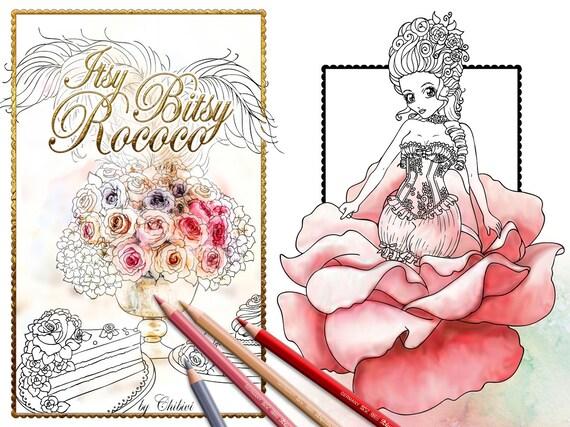 Malbuch Itsy Bitsy Rococo 10 Ausmalbilder Zeichnungen Zum Downloaden Drucken Digital Stamp Chibi König Königin Prinzessinnen Rosen