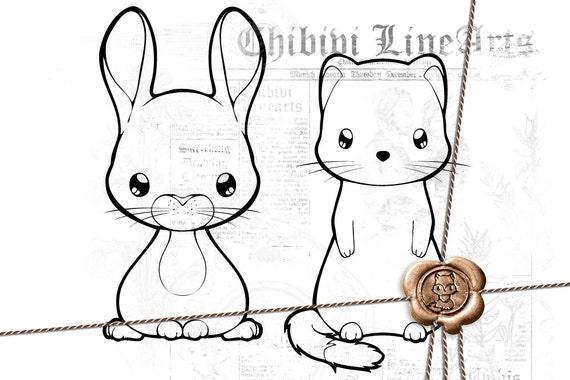 Digital Stamp Hase Hermelin Lineart Malvorlage Ausmalbild Waldtiere Häschen Wiesel Frettchen Direkter Download Png Clipart
