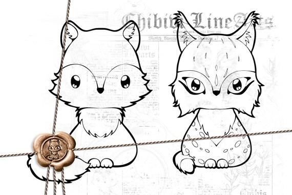 Digital Stamp Wolf Luchs Lineart Malvorlage Ausmalbild Etsy