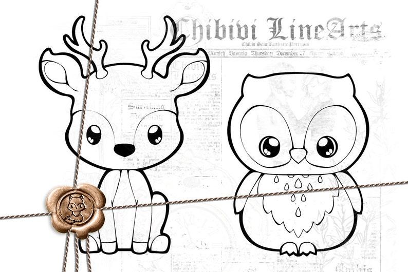Digital Stamps Hirsch Eule Lineart Druckbare Malvorlage Ausmalbilder Waldtiere Bambi Reh Kitz Und Uhu Stamp Png Digitale Clip Art