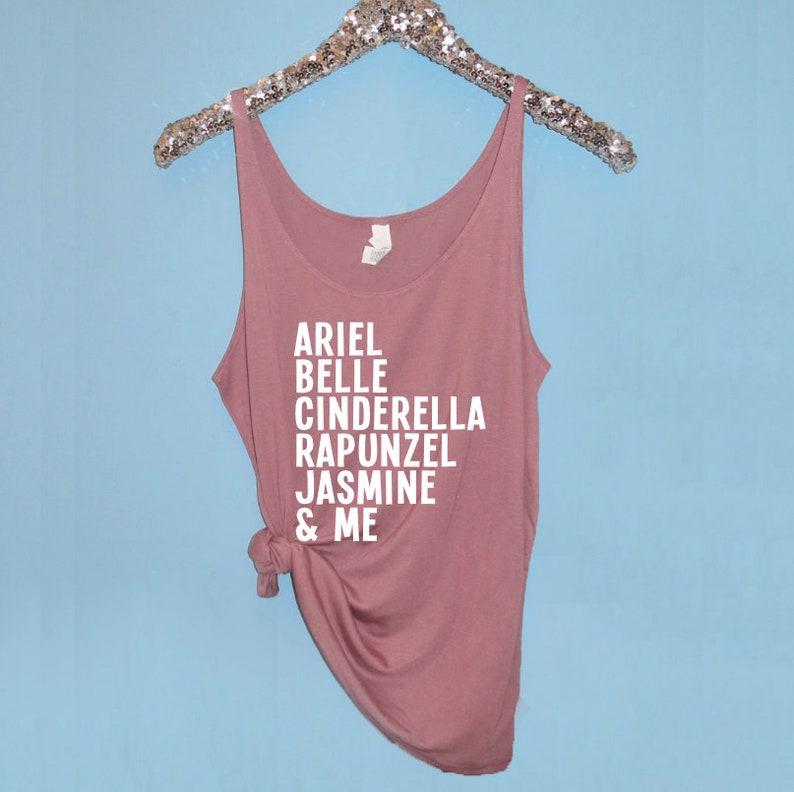 Disney Princess Tank. Ariel Belle Cinderella rapunzel Jasmine image 0