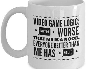 Video Game Coffee Mug - Noob or no life gamers ?  Funny Video Game Mug - Gift for Gamer