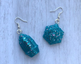 Sparkling Cactus Resin Earrings + Necklace Set