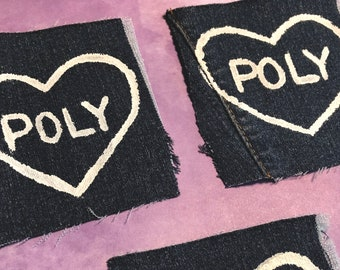 Polyamorous Heart Patches on Recycled Denim