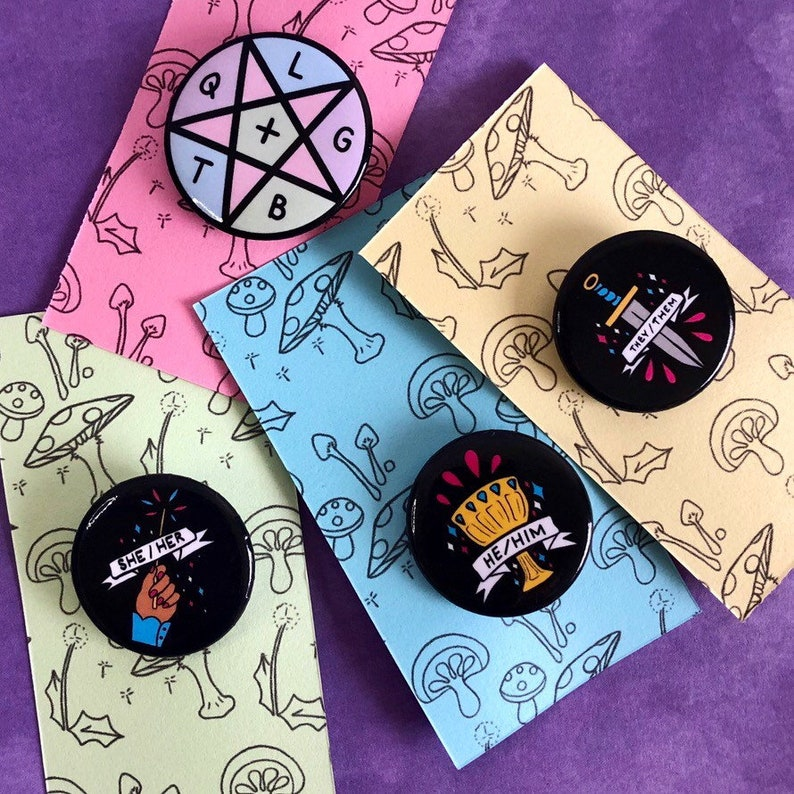 Witchcraft Pronoun Pins image 0