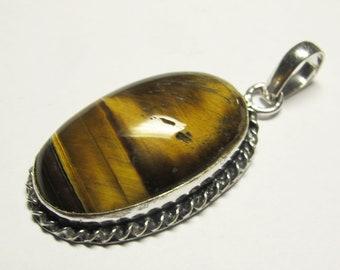 Tiger Eye brass pendant/Tiger eyes P # 22