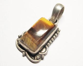 Tiger eye old brass pendant/Tiger eyes pendant P # 26