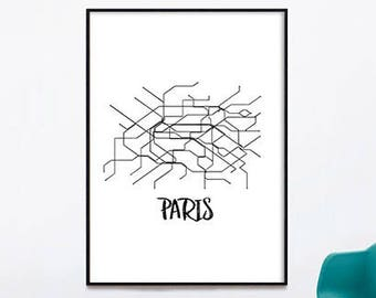 Paris metro poster | Etsy