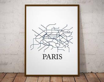 Paris Metro Map Etsy - Paris metro map print
