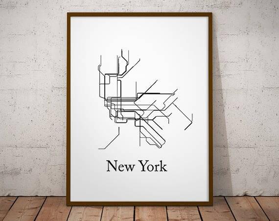 New York City Subway Map Black And White.New York Subway Map Subway Poster Metro Map Lines New York Metro Map Metro Map Black And White Vintage Retro Map Printable