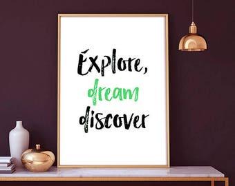 Explore, dream discover -  typography print art, dream, mark twain, gift ideas, home decor