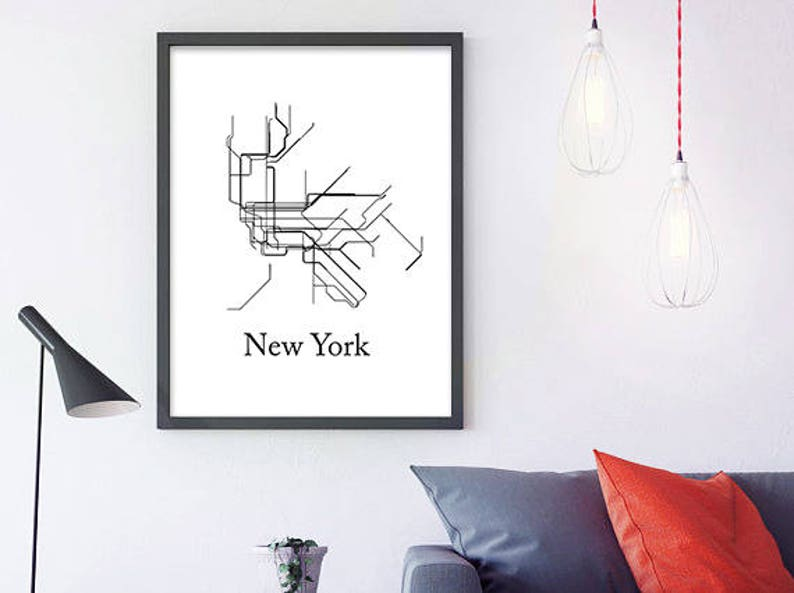 Nyc Subway Map Bedroom Wall Decal.New York Subway Map Subway Poster Metro Map Lines New York Metro Map Metro Map Black And White Vintage Retro Map Printable