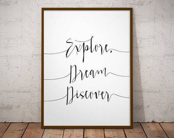 Explore, dream discover -  instant download, wall decor, mark twain, gift ideas, home decor, printable wall art, dream discover