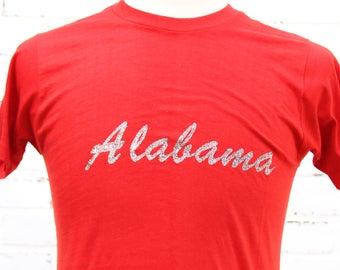 70's Vintage ALABAMA CRIMSON-TIDE T-Shirt Tuscaloosa Roll Tide Sec Conference Size Large