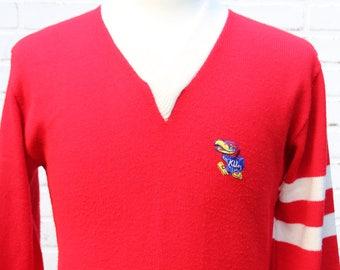 60's Vintage KANSAS JAYHAWKS Varsity V-Neck Sweater College Wear by Gepner Lawrence Kansas Rock Chalk Size Medium