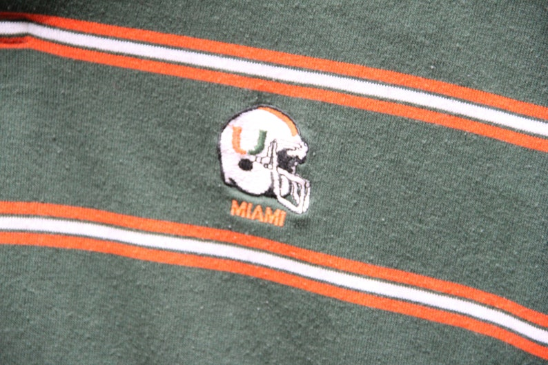 Canes The U Size Women/'s Large 80/'s Vintage MIAMI HURRICANES Green /& Orange Striped Polo Shirt ACC 80s Clothing Coral Gables Florida