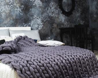 Merino wool blanket,Super Chunky throw, Chunky wool blanket, Knitted blanket, Knitted wool Blanket, chunky knit throw,super chunky