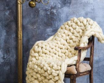 Super chunky throw, Chunky merino blanket, Chunky wool blanket, Knitted blanket, Super chunky blanket, Knitted wool Blanket, Wedding knitted