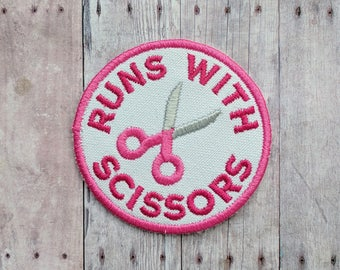 Runs With Scissors Patch, Crafty Merit Badge, Embroidered Canvas with Scissors and Pink Text, Choice of Finding, Made in USA, Sewing Gift