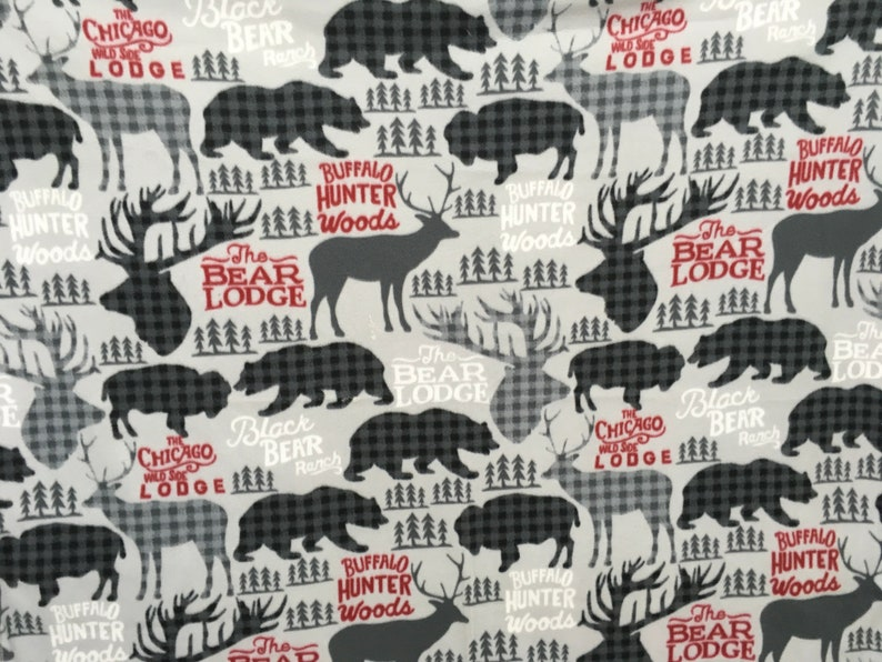 Gray buff check deer 55 X 60 Inches Soft fuzzy warm cuddly fleece blanket throw