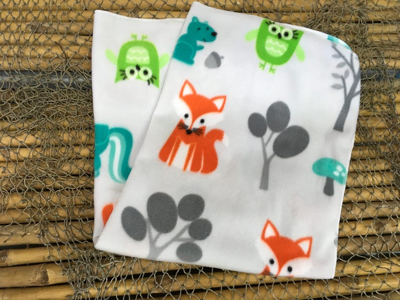 Foxes and owls print warm and very soft for baby fleece receiving blanket