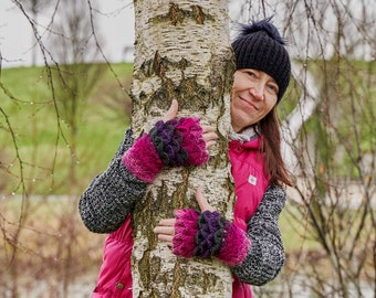 Crochet Mittens Fingerless Mittens Crochet Gloves Handmade Mittens Rainbow Armwarmers Ladies Gloves Knit Gloves Colorful Gloves Gift For Her