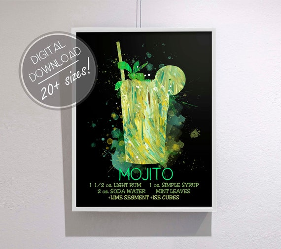 Mojito Cocktail Art Cocktail Recipe Digital Instant Download Etsy