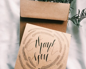 Hand-Made Calligraphy Thank you Card