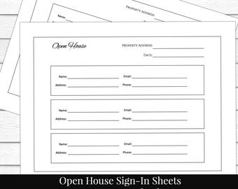 Guest Sign In Sheet Printable List Contact Open House Real Estate Agent Realtor Marketing