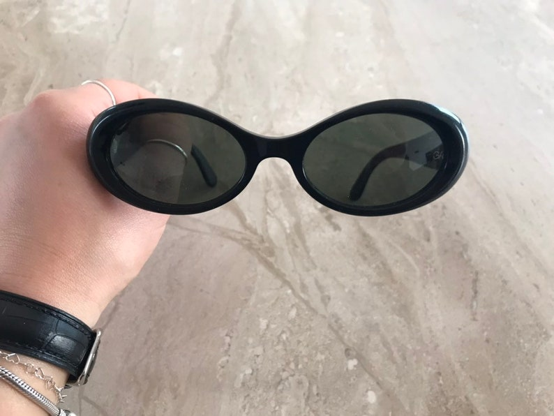 ac05c71c1f8 Giorgio Armani 944 020 vintage oval sunglasses with black