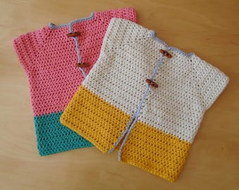 Baby's Two Tone Capped Sleeve Cardigan