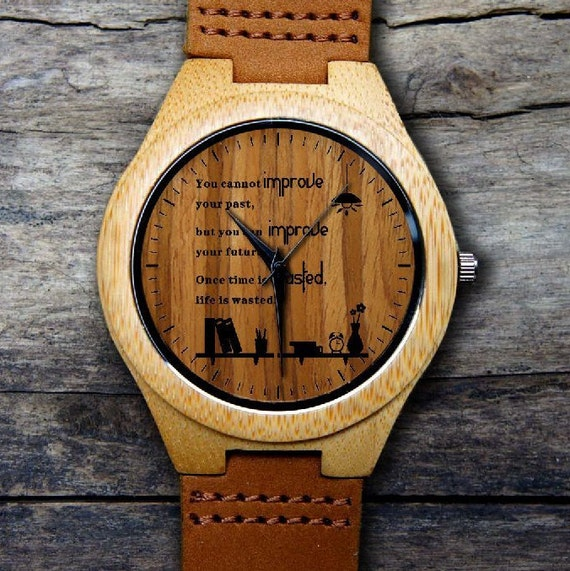 Wooden Watch Inspirational Quotes Watchwood Watchesfree Etsy