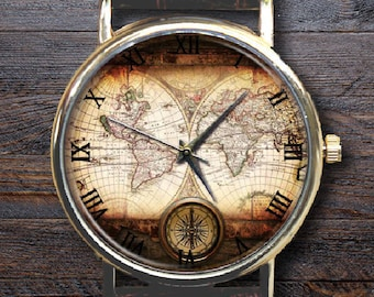 World Map watch, Casual Vintage wristwatch,Custom Engraved watchband,Old map,Classic Style,Ladies Watch,Men's Watch,Gift Ideas,Travel Gift