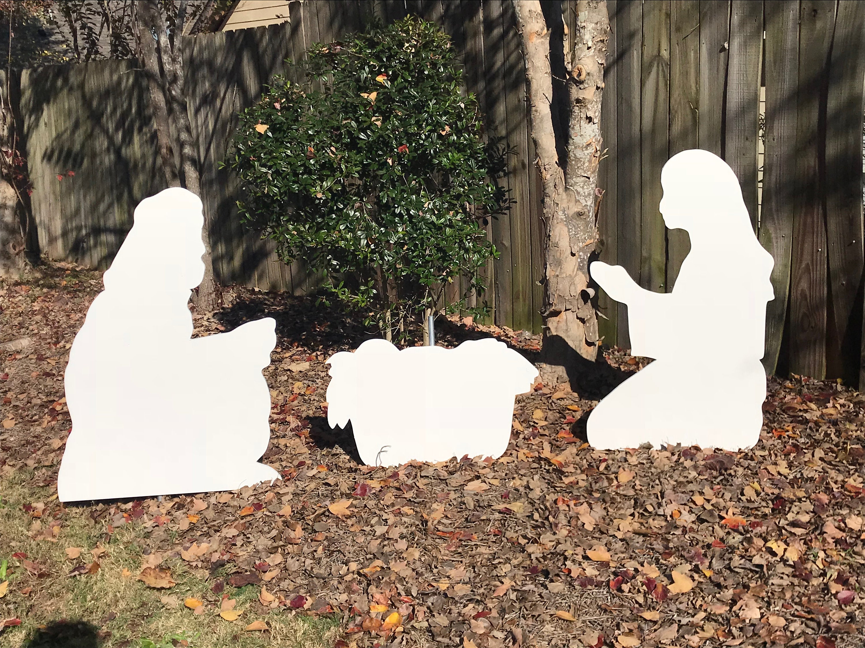White Nativity Scene Christmas Yard Sign