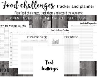 My Food Challenges Tracker And Planner Symptoms Blank Allergies Intolerance Diary Log Fpies EOE Dairy Coeliac IBS Cmpa CMPI
