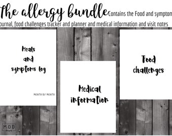 UNDATED The allergy bundle; food and symptoms journal and challenges tracker & planner. cmpa, FPIES, EOE, ibs, dairy, cmpi, coeliac disease.