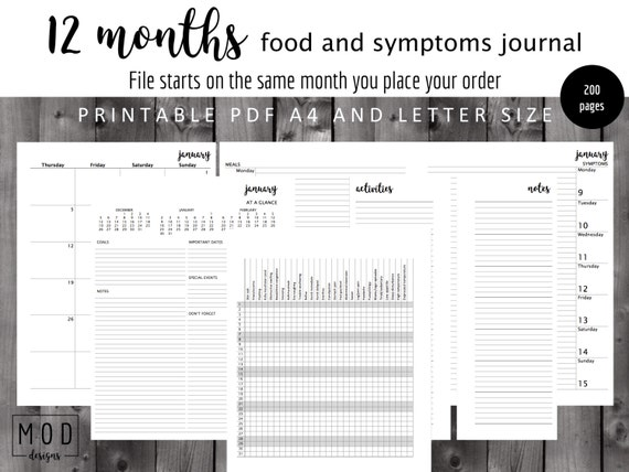 UNDATED My food and symptoms journal Pdf Symptoms blankFood Etsy