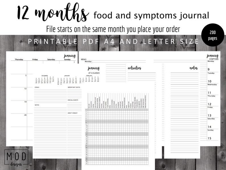 Undated My Food And Symptoms Journal Pdf Symptoms Blank Food Etsy
