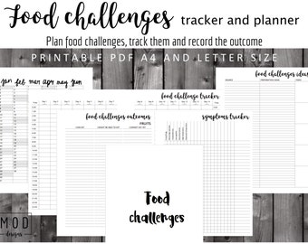My food challenges tracker and planner. Symptoms blank. Food allergies intolerance diary log. Fpies, EOE, dairy, Coeliac, IBS, Cmpa, CMPI.