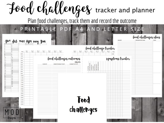 My food challenges tracker and planner Symptoms blank Food Etsy