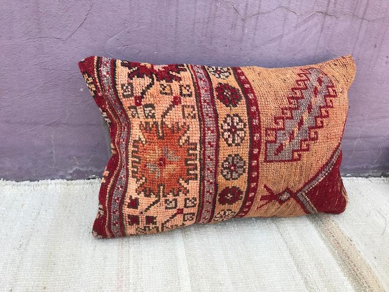 kilim cushion,decorative pillow 16x24 pillow Turkish kilim pillow,Lumbar kilim pillow red and brown kilim pillow,natural kilim pillow