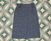 Vintage 1970 s dark blue chambray wrap front midi skirt with red stitching. Country Suburbans brand. Women s S-M (vtg 12)